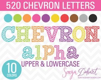Chevron Alphabet Clipart BUNDLE 520 Letters   Clip Art CA217