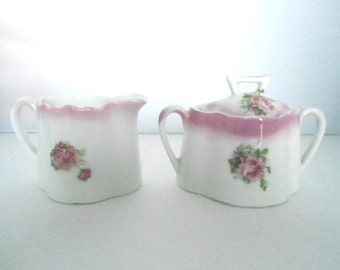 Early Lusterware Cream and Sugar set, Pink Roses Perfect Shabby Chic decor, Cottage Chic home, Floral Pattern, Tea Party, Country French