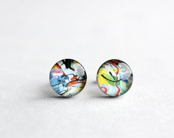 Kandinsky post earrings, Surgical steel stud, Tiny earring studs, Abstract Art stud earrings