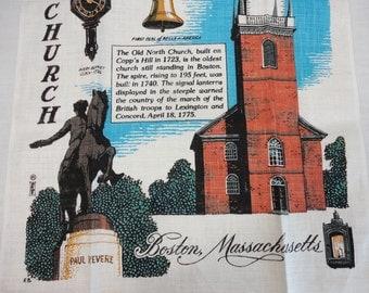 Vintage Kay Dee Linen Towel - Boston Massachusetts Souvenir