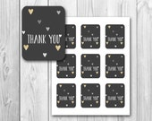 Thank you gift tag, black and gold, shower gift tag, printable gift tags, instant download