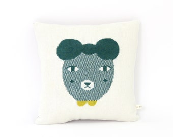 Little Bear Friend - wool/leather pillow