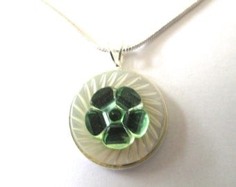 GREEN FLOWER vintage button pendant, glass button on mother of pearl, silver bezel and chain