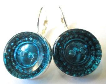 Vintage button earrings, blue glass buttons, silver leverbacks