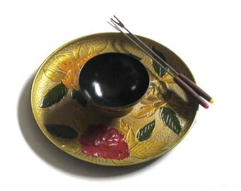 Asian Lacquer Ware Gold Floral Dipping Bowl and Plate Sauce Appetizer Platter Chip and Dip Oriental Serving Snack