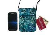 Cell Phone Sling Bag Hipster Blue and Green Batik Fabric