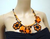 Crochet Flowers Oya Necklace