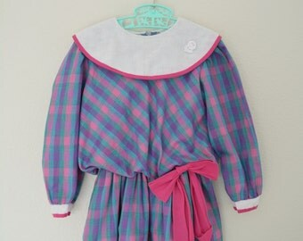 Little Girls Dress Vintage Drop Waist Plaid