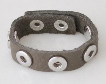"""1 Gray Leather Bracelet - 7.25"""" Fits 12MM Candy Snap Charm kb0914 CJ0072"""