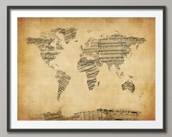 Map of the World Map, Sheet Music, Art Print (948)