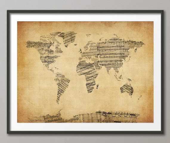 Map of the world map sheet music art print 948 like this item gumiabroncs Choice Image