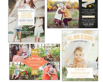 INSTANT DOWNLOAD - Fall Mini Session boards bundle - Photoshop required - E904