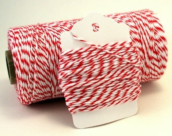 Red and White Baker's Twine . Valentine Twine. Striped Cherry Divine Twine . Red Baker's Twine . Holiday String . Choose Any Number of Yards