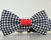 Black White Houndstooth with Red Center Bow Tie Dog Collar University of Alabama Wedding Accessories Made to Order