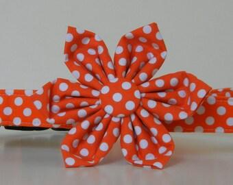 Orange Polka Dot Dog Flower Collar Wedding Accessories Halloween Collar Made to Order