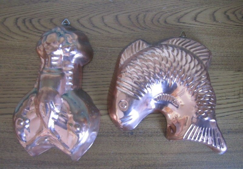 2 vintage copper aluminum molds fish and lobster shaped mold for Aluminum molds for fishing