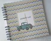 Baby Book |  Baby Memory Album | Navy Green Aqua Chevron Vintage Truck Personalized Wire Bound Baby Memory Book Keepsake Album