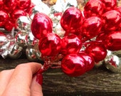 Extra Large Vintage Mercury Glass Grape Cluster, Sprays Red, Floral Pick