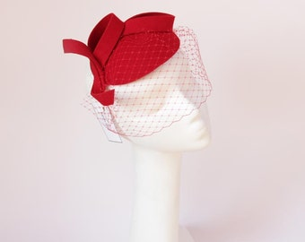 Bridal Hair Accessories,Felt Mini Hat,Fascinator,Red