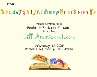Books & Bottoms Baby Shower Invitation