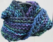 Outlander Inspired Chunky Hand Knit Infinity Scarf Gorgeous Dark Blue, Green, Purple
