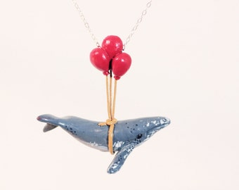 Humpback Whale Learns to Fly - Made To Order - Whale Necklace, whimsical animal jewelry, with balloons