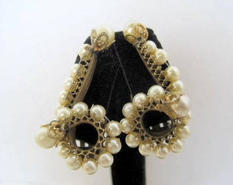 Pearl Ear Climber Earrings -  Patent Number -  vintage Wedding - 50's Clip Ons