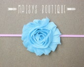 75% Off- Light Blue Pink Flower Headband/ Newborn Headband/ Baby Headband/ Photo Prop