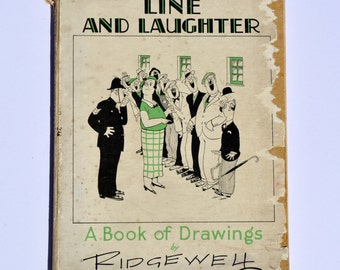1934 Line and Laughter A Book of Drawings Hand Signed by Ridgewell Hardback Book Vintage Book Antique Book Vintage Comic Vintage Cartoon