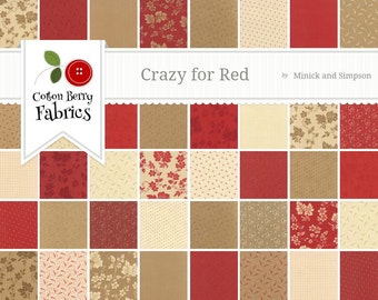 Crazy for Red Jelly Roll by Minick and Simpson for Moda - One Jelly Roll - 14790JR
