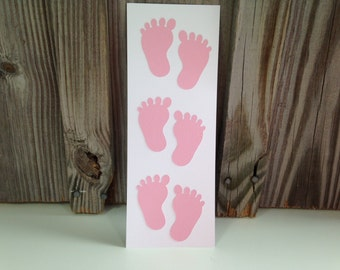 12 Pair of PINK BABY FEET Stickers - Baby Shower/New Baby - Scrapbooking - Die Cuts