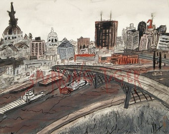 Twin Cities Art Print: Downtown Saint Paul Cityscape featuring the St Paul High Bridge, 11X14