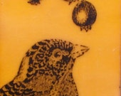 Bird and Berries Original Encaustic Painting