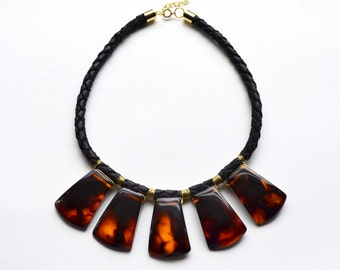 Tortoise Shell Necklace, Tribal Necklace, Leather Statement Necklace, Handmade High Fashion, Unique Indie Jewelry