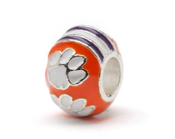 Clemson Bead Charm with Paws for Bracelet or Necklace Orange