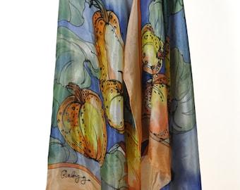Painting silk shawl/Hand painted shawl/Pumpkins/Orange Blue shawl/Woman silk shawl/Painted on silk Pumpkins/Woman Painting Accessory/gabyga