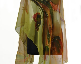 Hand painted silk scarfPainting chiffon scarf/Green Flowers/Woman silk scarf/Painting silk flowers Painted by hand Accessory Made by /S0036
