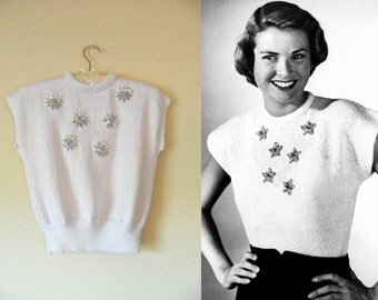 White emelished sweater blouse. Grace Kelly reproduction.