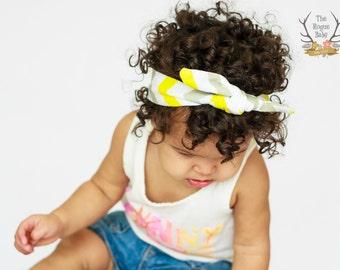 Gray White Yellow Chevron - Knotted Headband - Baby Girl Child Tied Head band