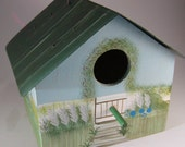 Vintage Birdhouse-Wooden with Green Tin Roof Hand Painted