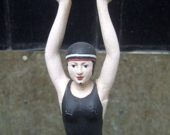 Hand Painted Wood Figural Woman Statue