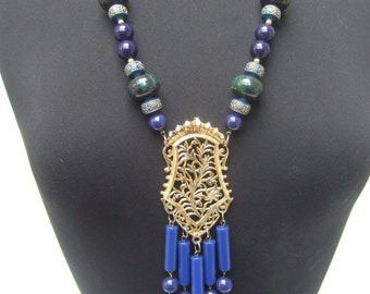 Massive Blue & Green Beaded Statement Necklace