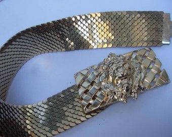 Ornate Gilt Metal Lion Wide Stretch Belt