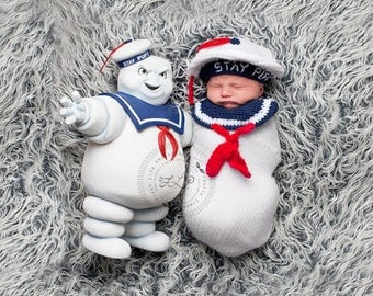READY TO SHIP Stay Puft / Ghostbusters Inspired Photo Prop Set - Beret and Bib - Newborn
