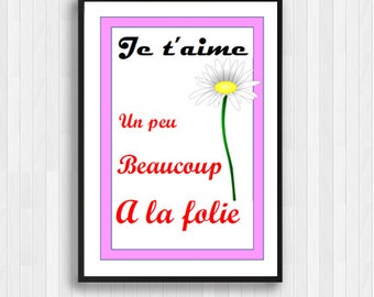 He Loves Me He Loves Me Not,Je T'aime Print,Je T'aime Quote,French Wall Art,Poster Print,French Decor,French Poster,Daisy Print,French Quote