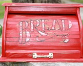 Vintage Farmhouse Chic Wooden Roll Top Bread Box - Red - Shabby Chic - Upcycled Vintage Metal Handle - Kitchen Decor - Storage - Rustic Chic