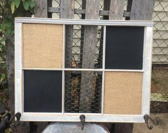 Reclaimed Old Window - Shabby Chic Grey Frame - Magnetic Chalkboard - Burlap Covered Cork Board - Chicken Wire Memo Board-Rustic Metal Hooks