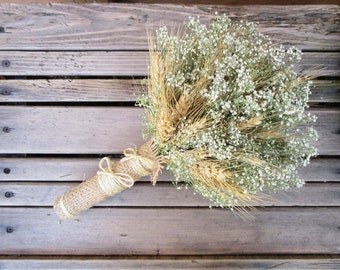 Simple Summer Wheat & Baby's Breath Bridal Bouquet - Dried Wedding Bouquet- Wheat Bouquet - Wheat