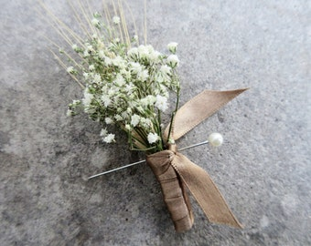 Simple Summer Wheat Boutonniere -Dried Wedding Boutonniere- Wheat & Baby's Breath