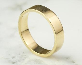 5mm 14K / 18k /22k / 24k Gold Mens Flat Edge Wedding Band Ring, Rectangle - Rose, Yellow, or White